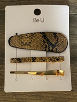 Faux Leather Metallic Snakeskin Hair Clip Accessory Set