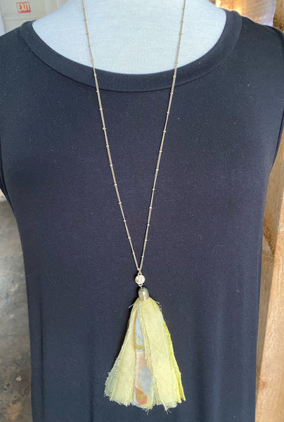 Pale Yellow Fabric Necklace