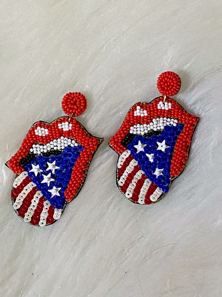 Beaded and Sequined Rolling Stone Earrings