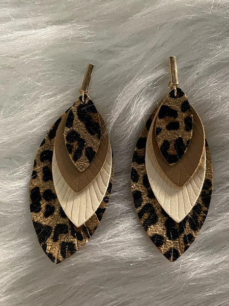 Leopard Print Layered Feather Shaped Earrings