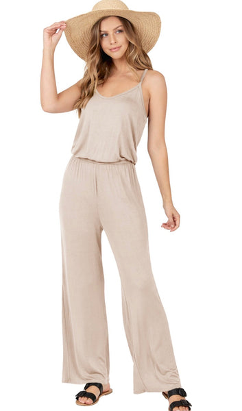 Sleeveless Taupe Jumpsuit