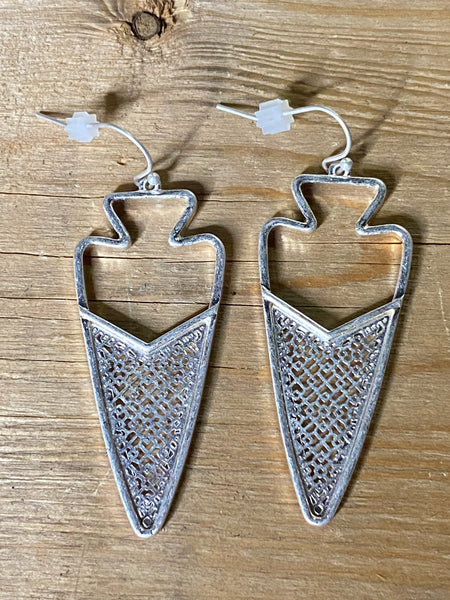 Metal Encased Filigree Arrow Drop Earrings