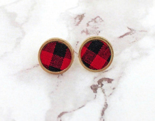 Red and Black  Buffalo Plaid Disk Earrings