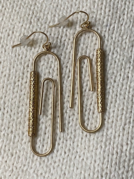 Paper Clip Statement Drop Earrings