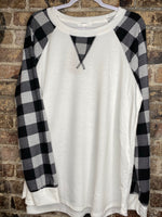 Plus Size Pull Over With Buffalo Plaid Sleeves