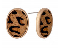 Leather Leopard Print Cow Hide Oval Stud Earrings