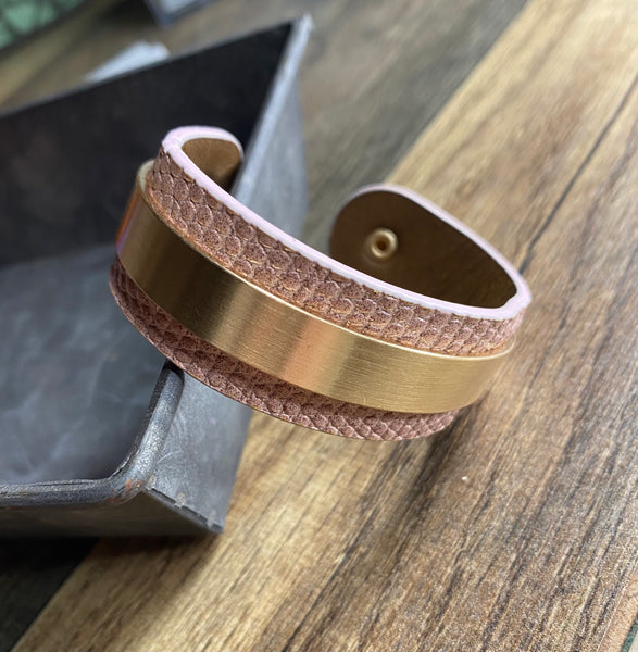 Pink Faux Leather Gator Print Cuff Bracelet