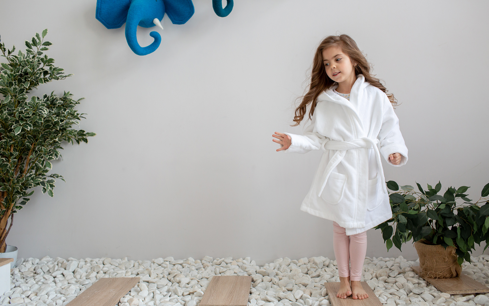 Girl Standing in white + kimono white cotton bathrobe