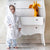 boy wears a white+kimono hooded bathrobe
