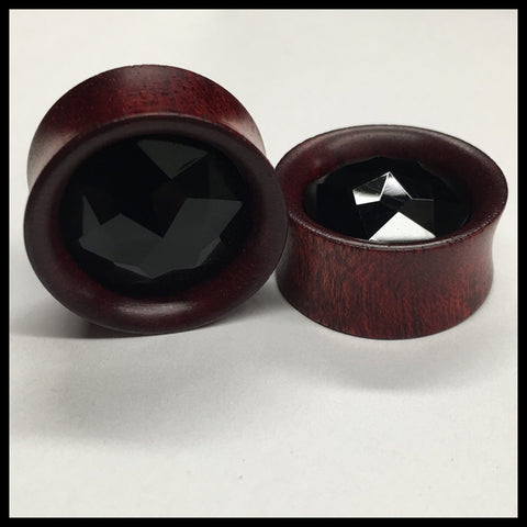Ebony Crystal Ball Round Plugs