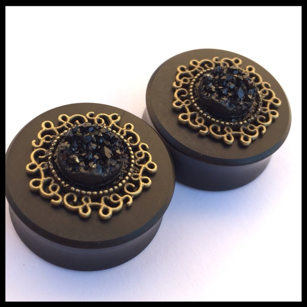 Ebony Golden Midnight Round Plugs