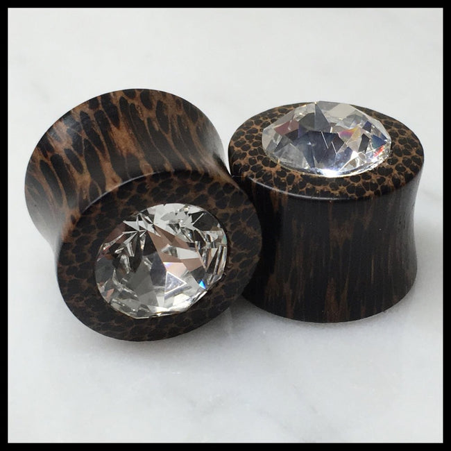 Black Palm Swarovski Crystal Round Plugs
