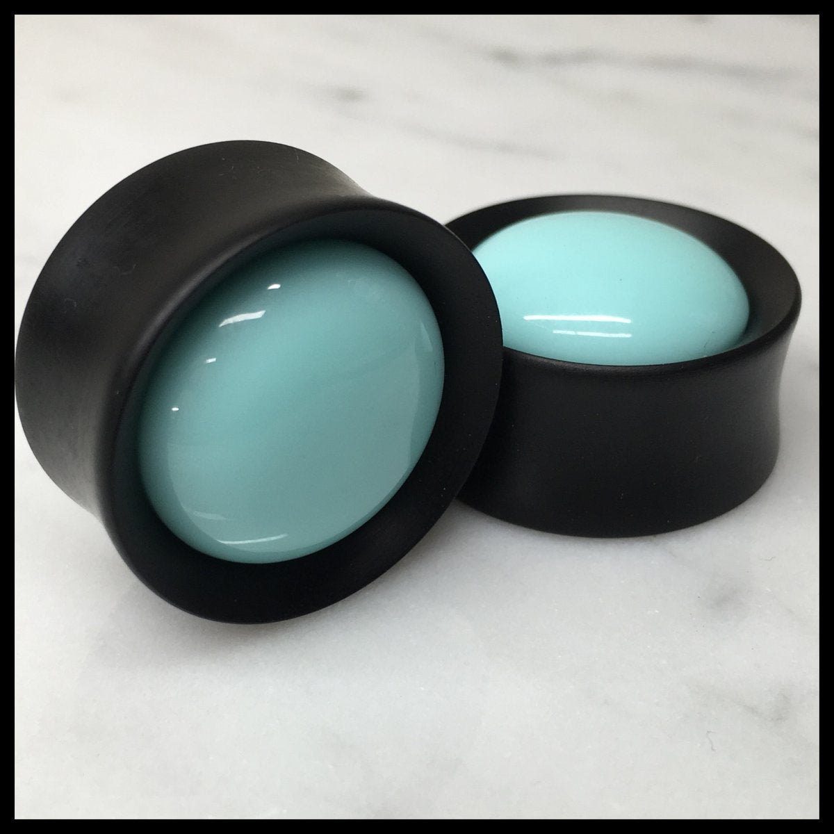 Ebony Teal Solid Round Plugs