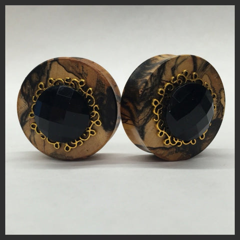 Ebony Sparkle Green Round Plugs