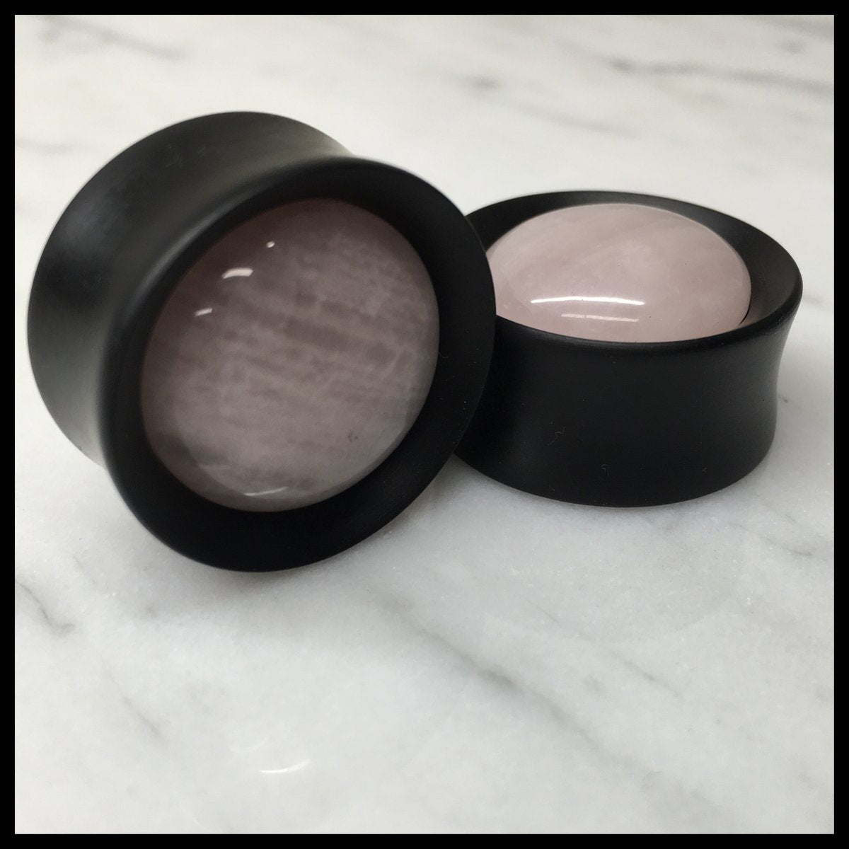 Ebony Stone Rose Quartz Round Plugs