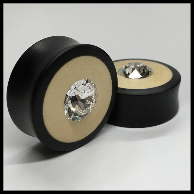 Ebony Holly Swarovski Crystal Round Plugs