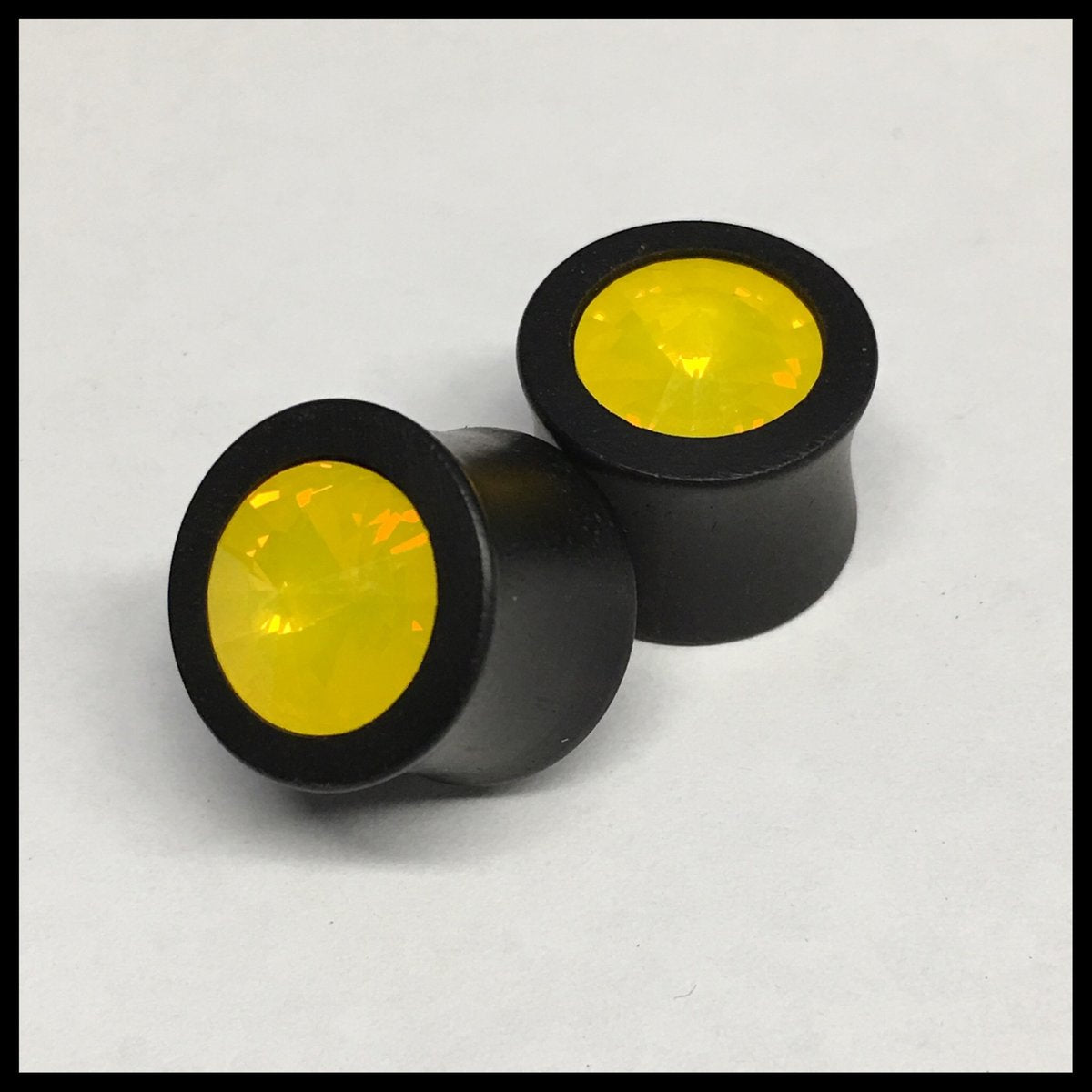 Ebony Small Swarovski Yellow Opal Round Plugs