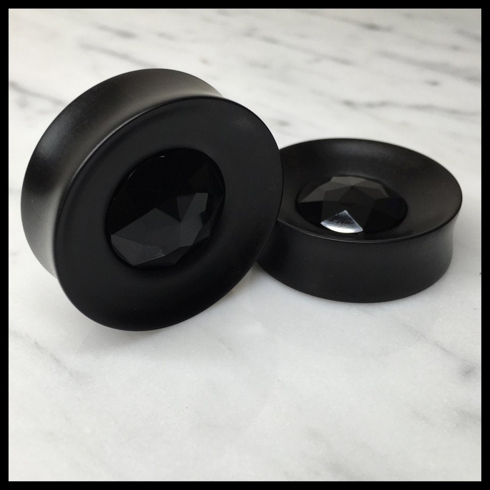 Ebony Black Large Gem Round Plugs