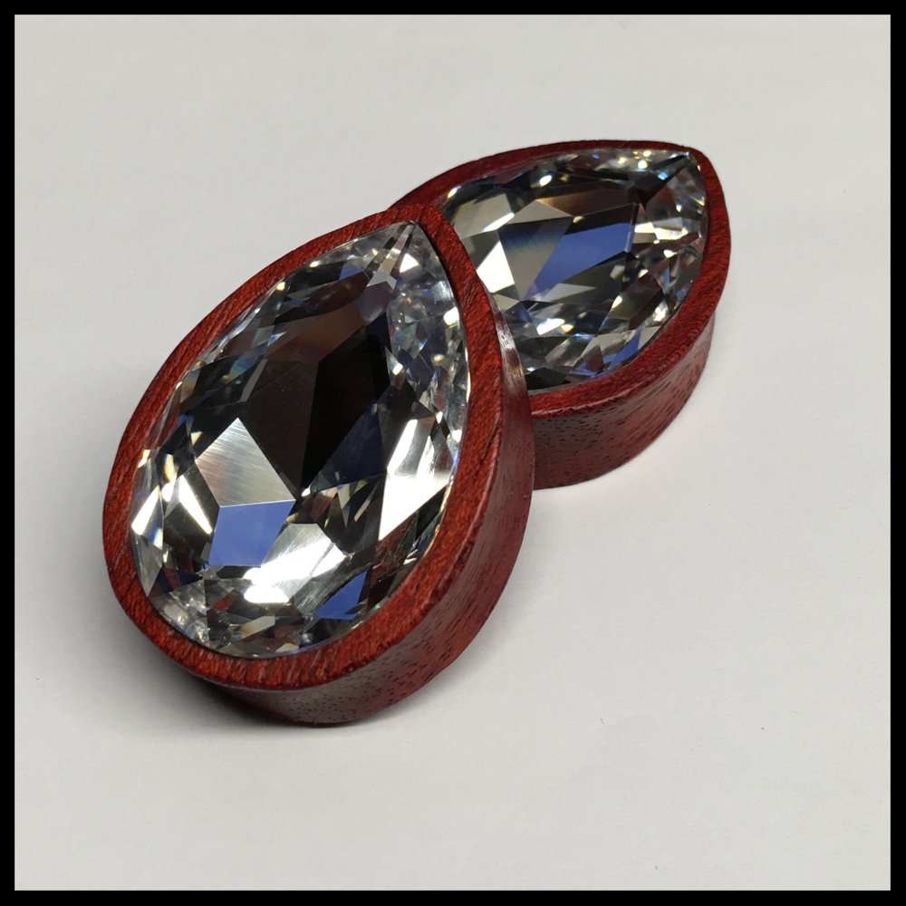 Bloodwood XL Swarovski Crystal Teardrop Plugs