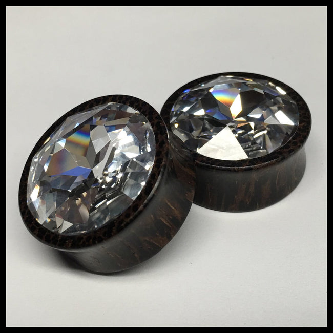 Black Palm Large Swarovski Crystal Round Plugs