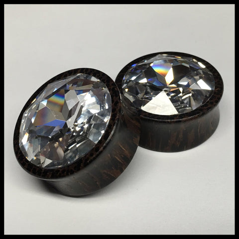 Ebony Large Swarovski White Opal Teardrop Plugs