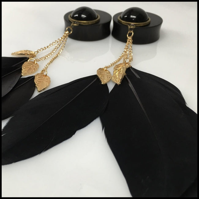 Ebony Black Gold Feathers Solid Round Dangle Plugs