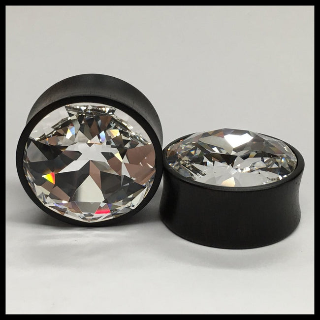 Ebony Large Swarovski Crystal Round Plugs