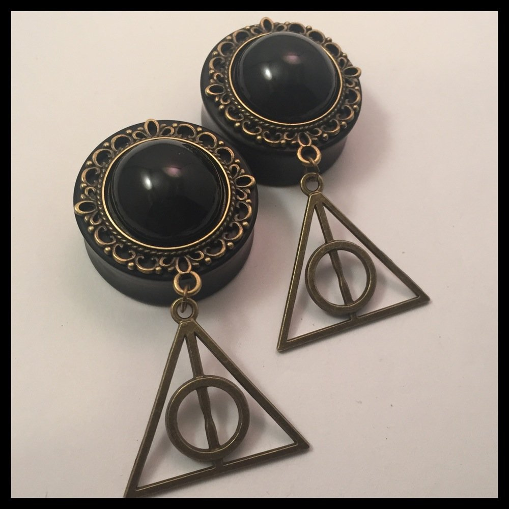 Ebony Deathly Hallows Solid Round Dangle Plugs