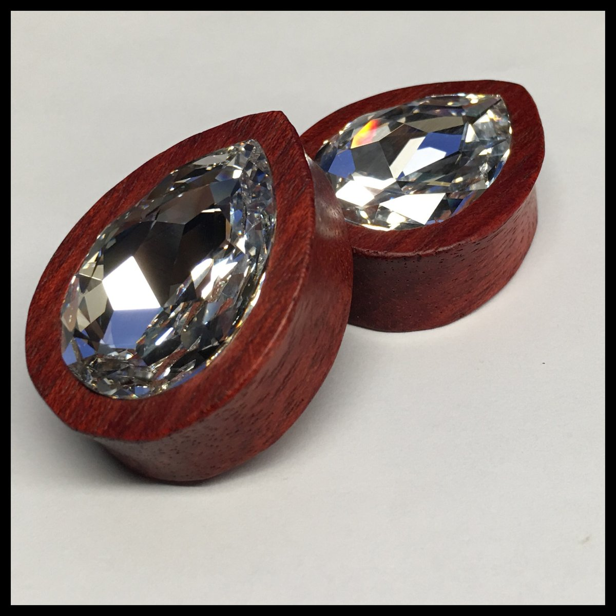 Bloodwood Large Swarovski Crystal Teardrop Plugs