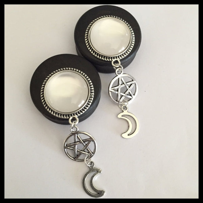 Ebony Moon Pentacle Solid Round Dangle Plugs