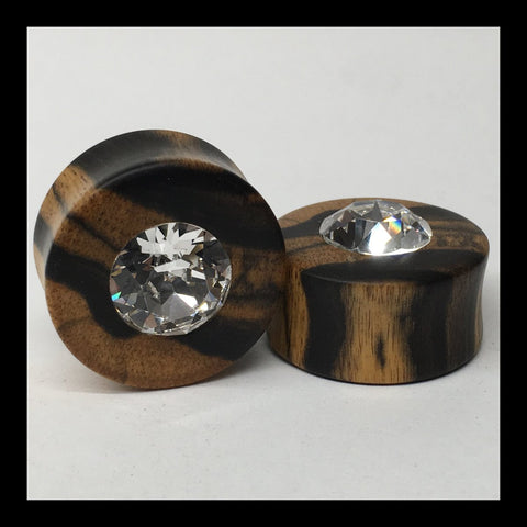 Black & White Ebony Swarovski Round Crystal Teardrop Plugs
