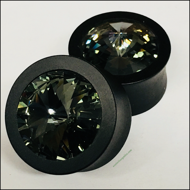 Ebony Med Swarovski Black Diamond Round Plugs