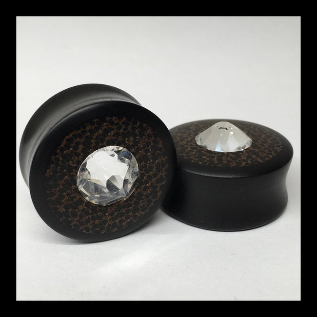 Ebony Black Palm Swarovski Crystal Round Plugs