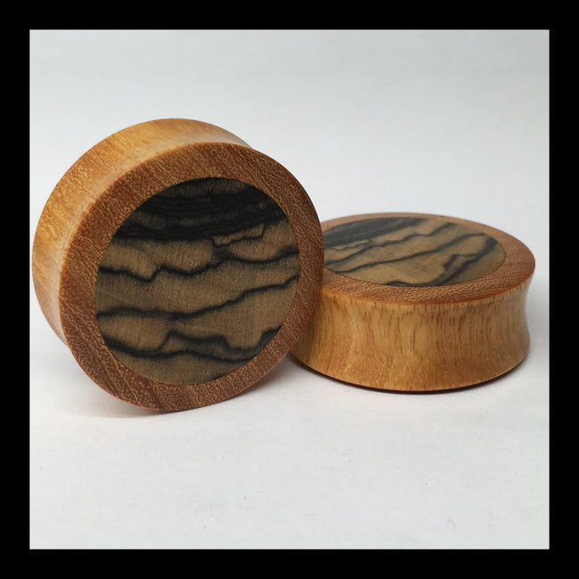 Osage Orange Black & White Ebony Solid Round Plugs