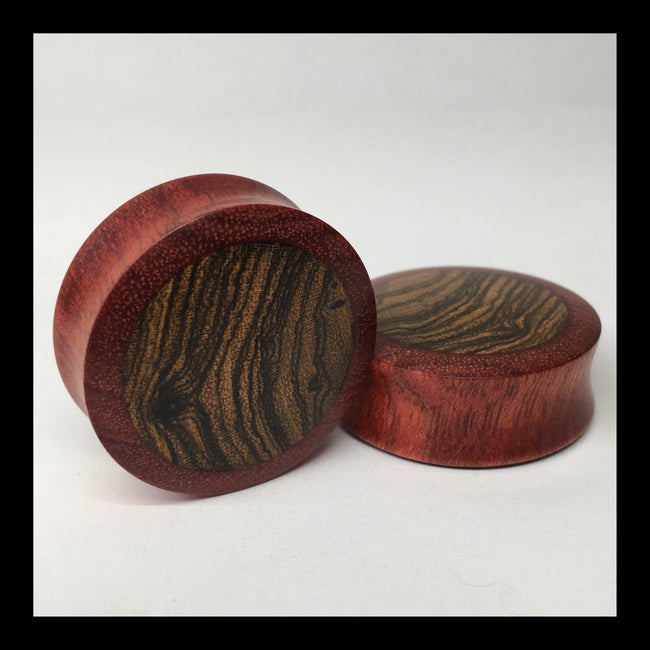 Bloodwood Bocote Solid Round Plugs