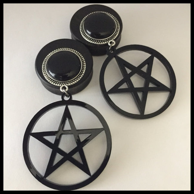 Ebony Pentagram Solid Round Dangle Plugs