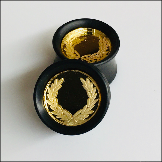 Ebony Gold Mirror Laurel Solid Round Plug