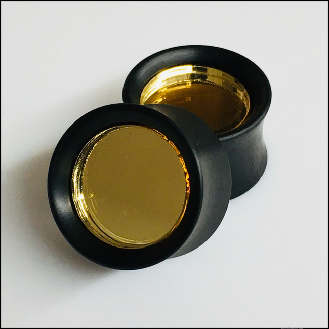 Ebony Gold Mirror Solid Round Plug