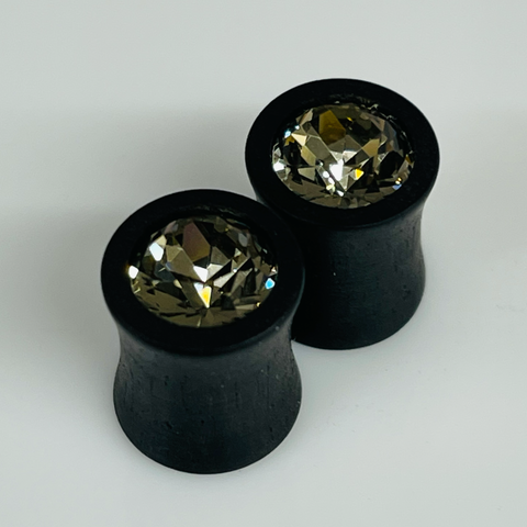 Ebony Large Swarovski Ruby Round Plugs