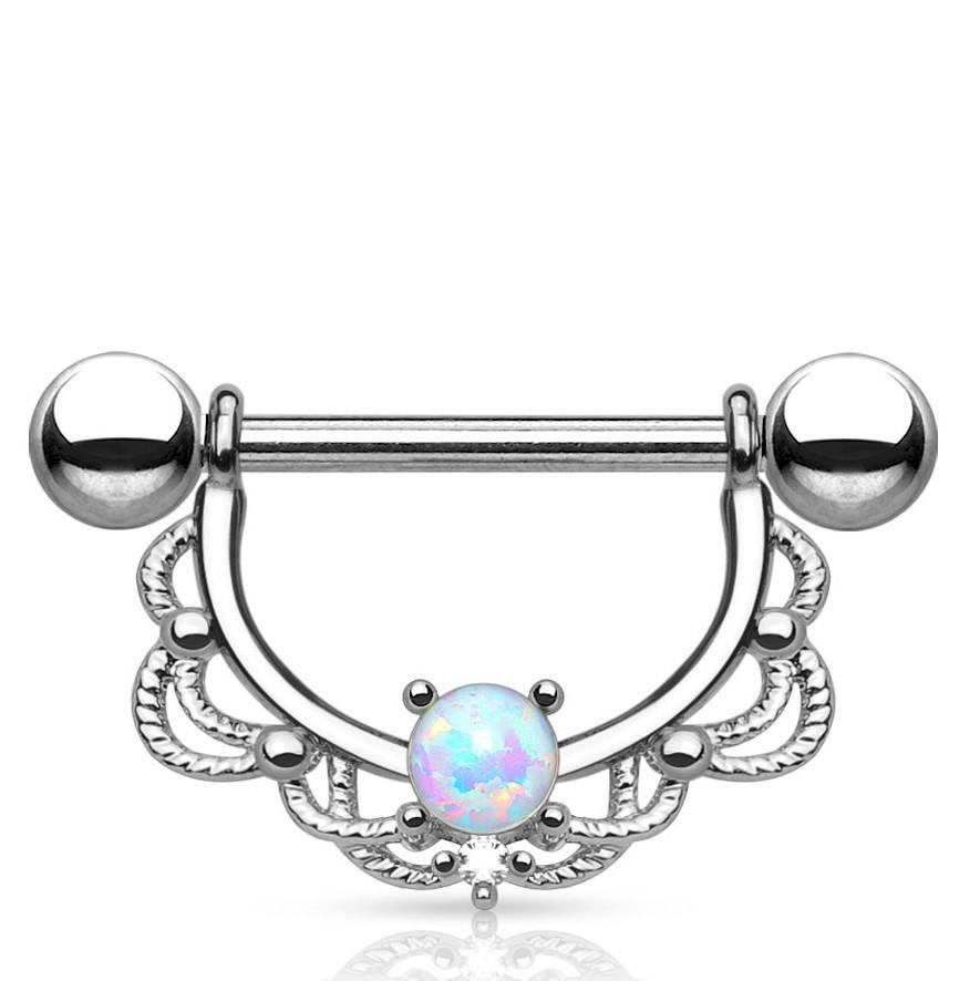 Opal Centered Filigree Drop Nipple Barbell