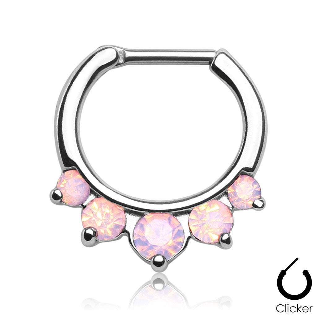 Five Paved Pink Opalite Gem Septum Clicker