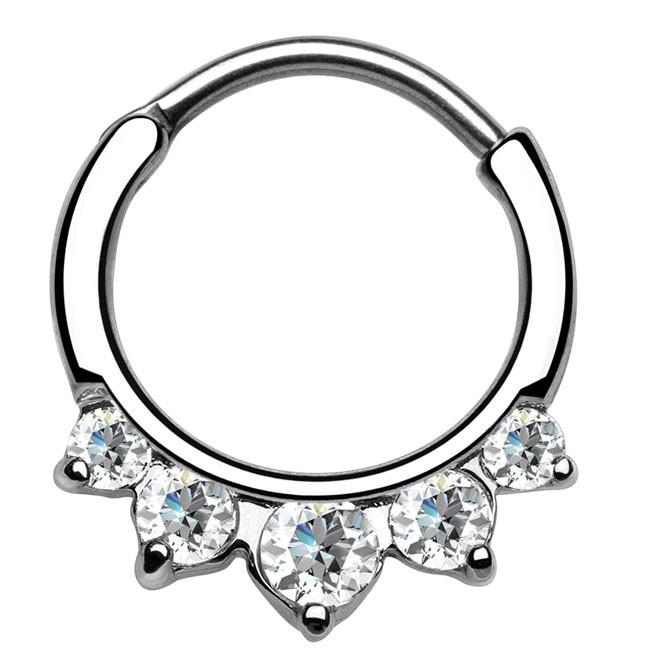 Five Paved Clear Gem Round Septum Clicker
