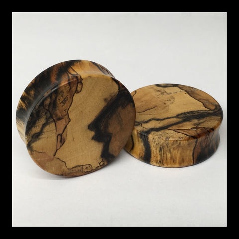 Black & White Ebony Solid Teardrop Plugs