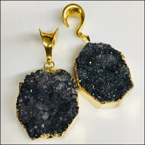 Ebony Champagne Rough Druzy Plugs