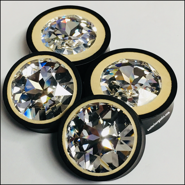 Ebony Holly Large Swarovski Crystal Round Plugs