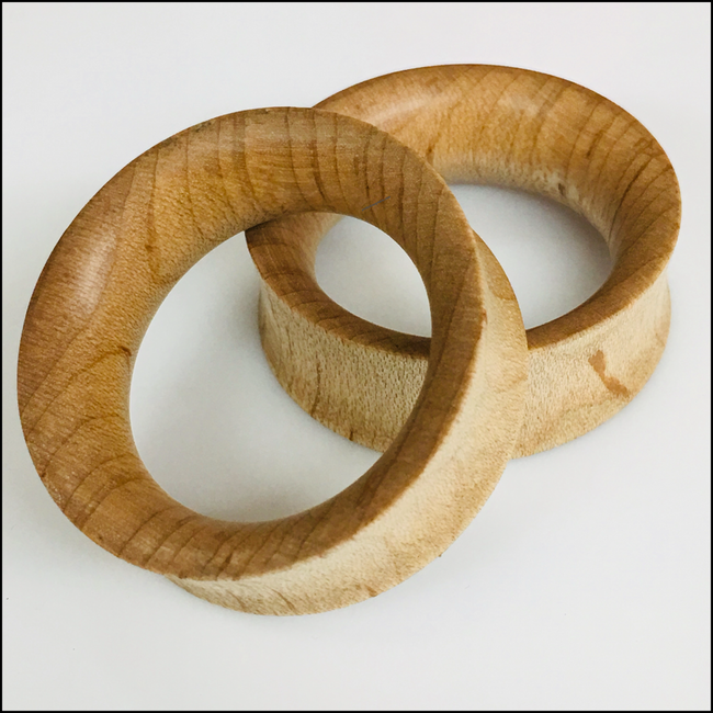 Maple Thin Tunnels Round Plugs