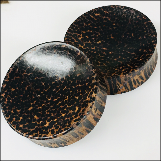 Black Palm Concave Round Plugs