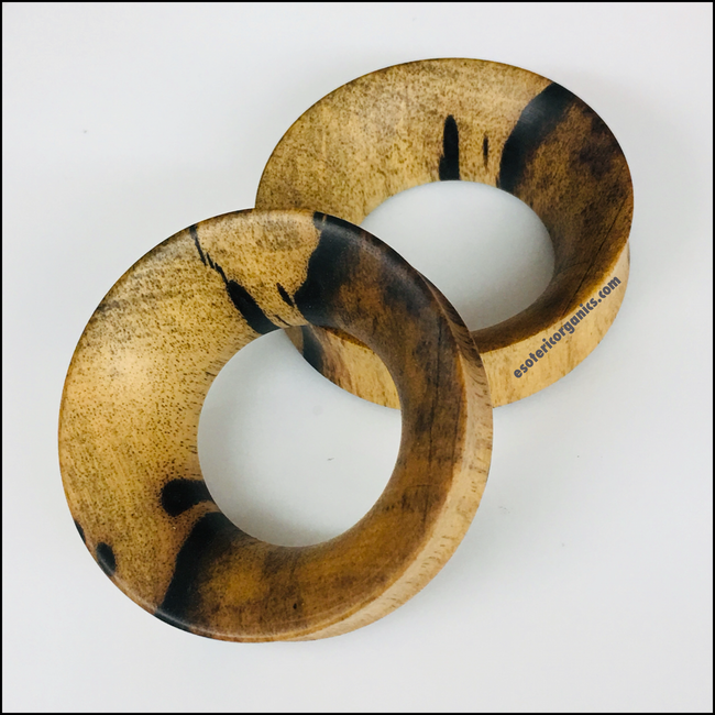 Black & White Ebony Thick Tunnels Round Plugs