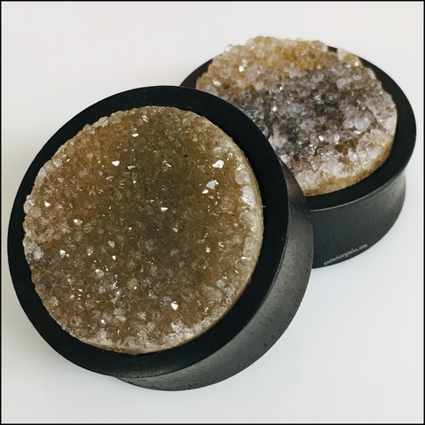 Ebony Green Rough Druzy Plugs