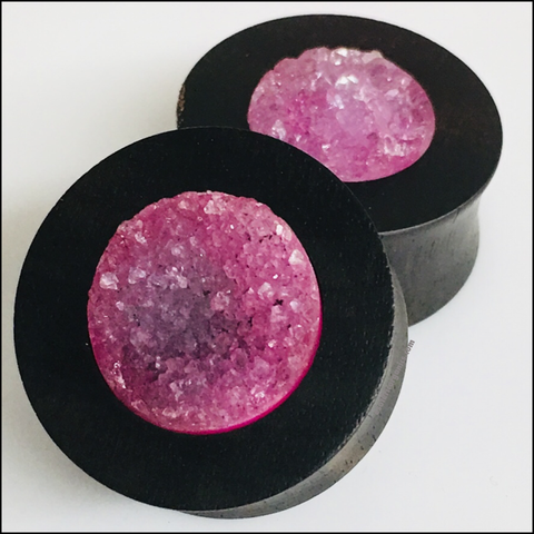 Ebony Pink Agate Geodes Tunnels